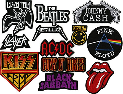 12 pc. Patch Set | Nirvana | Beatles | Zepplin | Kiss | Johnny Cash | Large Embroidered Band Patches |- by Nixon Thread Co.