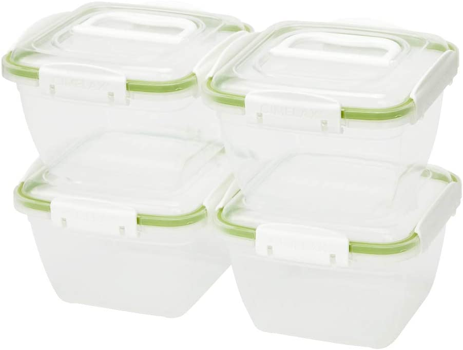 Cimelax Skykeep Food Storage Container, Airtight Container, Leak Proof Food Container, BPA Free, Set of 4 (8 pieces Total), 39.2oz, Green, Clear