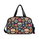 Cheap InterestPrint Dia De Los Muertos Sugar Skull Travel Duffel Bag Sports Gym Bag for Men Women