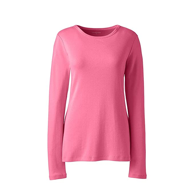 4568ff37 Lands' End Women's All Cotton Long Sleeve T-Shirt - Rib Knit ...