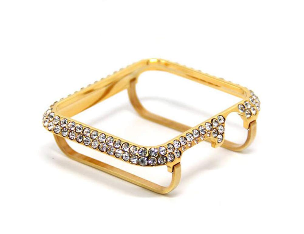 YALTOL for Iwatch/Apple Watch Series 4/3/2/1 Protection Frame with Rhinestone Diamond Metal Case Bezel,40mm,44mm,38mm,42mm,Gold,38mm