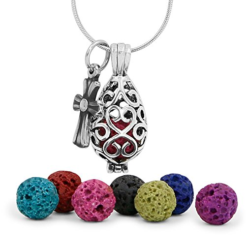 """Maromalife Premium Teardrop Lava Stone Aromatherapy Essential Oil Diffuser Necklace Locket Pendant Gift Set with 24"""" Chain and Multi-Colored Beads"""