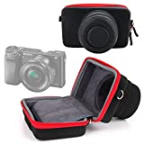 DURAGADGET Case Exclusively for Sony RX100 II | DSC-RX100M2 | Sony NEX-5T | Sony DSC-HX60 | HX400V & Panasonic Lumix GF8 | DMC-FT30 | DMC-TZ70 | DMC-ZS50 - Black and Red Rigid Protective Case with Elastic Belt Loop and Custom Contoured Design