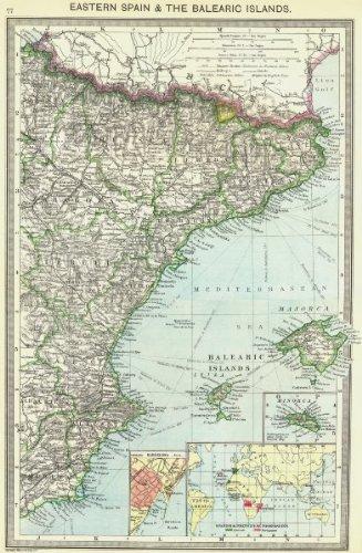 España: oriental, Islas Baleares; Barcelona; Colonias, 1907 mapa antiguo