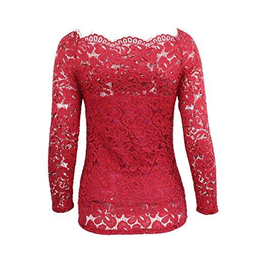 Bianco Maglia Blu Donna Camicia Unita Pizzo Shirt Elegante Rosso Top Spalle Camicetta Lunghe Nero Tinta Scoperte Landove Magliette Bluse Senza Spalline T Rosso Ragazza Maniche wHPqCw