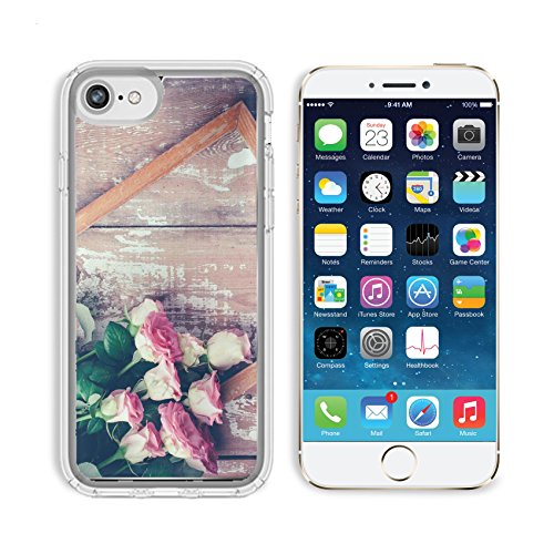 Luxlady Apple iPhone 6/6S Clear case Soft TPU Rubber Silicone Bumper Snap Cases iPhone6/6S IMAGE ID 31211338 Bouquet of pink roses and a wooden frame on old board background vintage color tinting ()