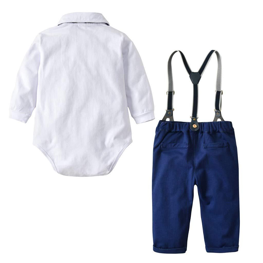 Solido Bretelle Pantaloni Gentiluomo Vestito Set Jimmackey 2pcs Neonato Camicia Pagliaccetto Beb/è Gufo Stampa Tutine Body