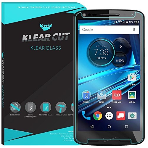 Motorola Droid Turbo 2 Screen Protector Glass, Klear Cut KlearGlass - 9H Hardness Tempered with Lifetime Replacements / 99.9% HD Clear / Shatterproof and Anti-Bubble Ballistic Glass