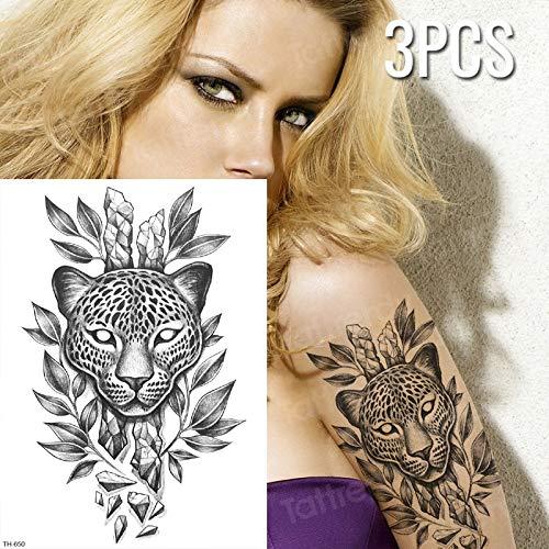 3 unids/Lote Estampado de Leopardo Tatuaje Temporal Pantera Negra ...