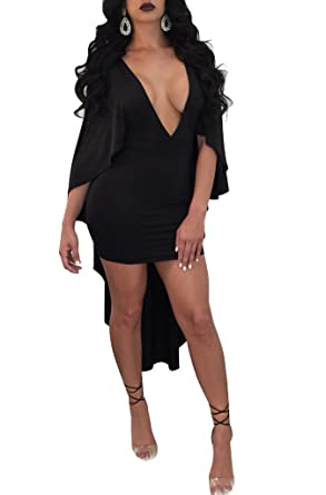 1bd78150c64 Womens Sexy Cape Cloak V Neck Batwing Sleeve Bodycon Cocktail Party Mini  Dress at Amazon Women s Clothing store