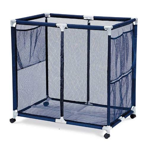 Essentially Yours Pool Floats, Balls, Toys and Equipment Rolling Mesh Organizer Storage Bin, Extra-Large, Blue