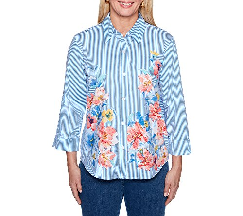 Alfred Dunner Women's Stripe Floral Woven Top, Multi, 10