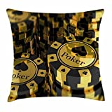 Lunarable Poker Tournament Throw Pillow Cushion Cover, Gold and Black Poker Chips in Gambling Club Currency Stack Wager Print, Decorative Square Accent Pillow Case, 36 X 36 inches, Gold Black
