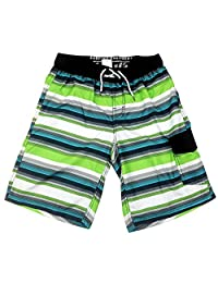 SLGADEN Boys Boardshorts Drawstring Pockets Beach Green Stripe Swim Trunk 7-14T