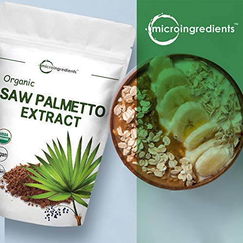 Sustainably US Grown, Organic Saw Palmetto Powder, 4 Ounce, Pure Saw Palmetto Prostate Supplement, Healthy Urination Frequency and Flow Supplement, Non-GMO and Vegan Friendly