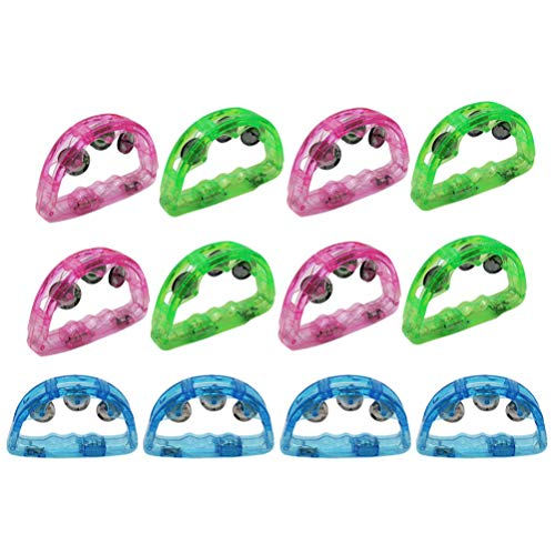 BESPORTBLE 12Pack Flashing Handbells Party Flashing Props Neon Toys Light Up Tambourine for Christmas New Yesr Wedding Birthday Cheering Party Dancing (Random Color)