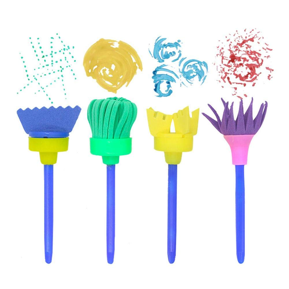 Comaie Set pennelli per Pittura Spugna 16PCS Creative DIY Art Brush Tools con Rullo Tondo Piatto per Bambini Disegno Vernice pennelli Tool Craft Early Learning Supplies spugne Mini Kit per Bambini