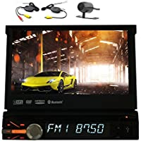 EinCar 1 Din Car Stereo in Dash Car DVD Player Car Deck Single One Din Autovideo Multimedia Support USB/SD/Bluetooth/GPS Navi/Aux/Car Logo/Steering Wheel Control/Wireless Rearview Camera
