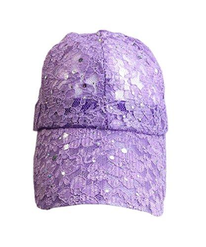 Aesthetinc Classic Lace Glitter Sequin Baseball Cap Hat Bling Bling - Lavender Birthday Hat
