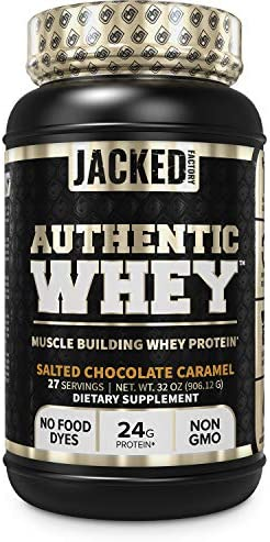 Authentic WHEY Muscle Building Whey Protein Powder – Low Carb, Non-GMO, No Fillers, Mixes Perfectly – Delicious Salted Chocolate Carmel Flavor – 2LB Tub