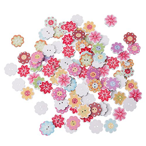 Shaoge 50/100Pcs Flower Owl Car 2 Holes Wooden Sewing Buttons Craft Scrapbooking DIY