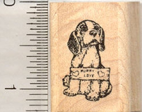 Tiny Valentine Beagle Dog Rubber Stamp, Puppy Love