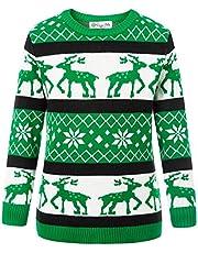Danna Belle Kid's Reindeer Snowflake Christmas Pullover Sweater Jumper 4-13Y