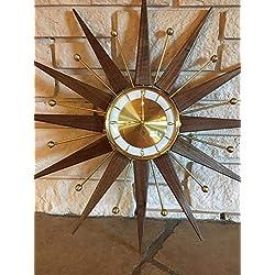 Walnut and Brass Starburst clock