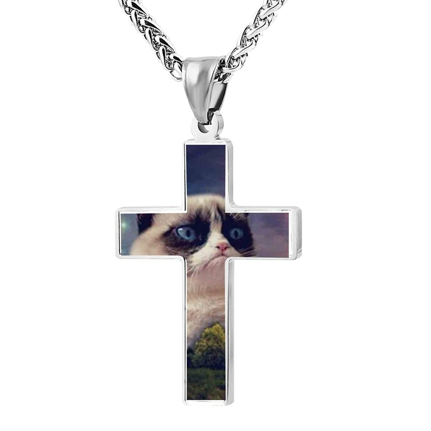 LUQeo Cat Christ Cross Necklace Devoted Lord Jewelry Pendant