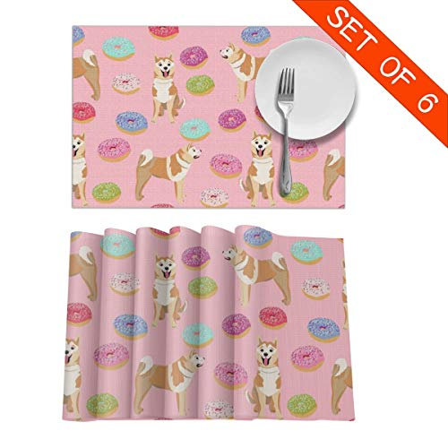 GIxilijie Placemats,Akita Donut Dog, Donuts, Dog, Food, Akita Dogs Pink Heat Insulation Non Slip Plastic Kitchen Stain Resistant Placemat for Dining Table Set of 6