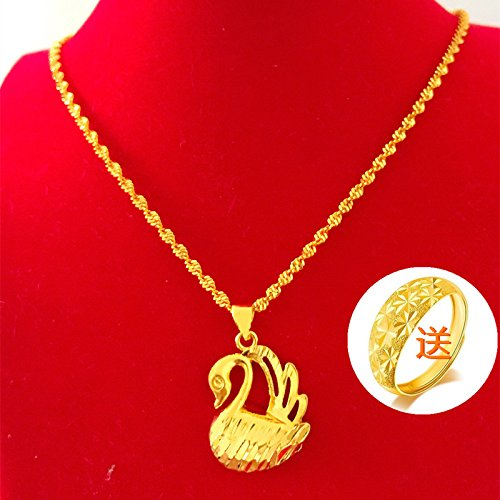 Generic little swan 999 _Vietnamese_shakin_pure_24k_ gold-plated gold _coins_ Europe _does_not_fade_ genuine _artificial_ gold necklace pendant women girl _gold by Generic (Image #3)