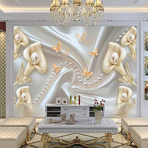 3D Stickers Wall Decorations Wallpaper Murals Calla Flower Diamond Jewelry Pearl Background Decor Living Room Art Girls Bedroom (W)140X(H)100Cm