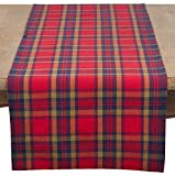 SARO LIFESTYLE Glendora Collection Plaid Design Cotton Table Runner, 16'' x 72'', Red