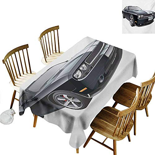 Xlcsomf Home Long Tablecloth Cars Protect Table Black Modern Pony Car with White Racing Stripes Coupe Sports Dragster Print Black Grey White,W54 - Coupe Provincial