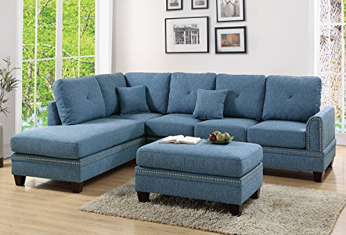 Poundex PDEX- Sectional Set, Blue - Nailhead accent on Arm and Seat frame Seat Cushion Filled with foam and inner Spring for durability and comfort Interlocking insert to keep all pieces together - sofas-couches, living-room-furniture, living-room - 510xUF5A0CL -