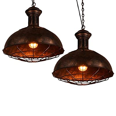 Dome Cage Lamp Shade, Motent Industrial Nautical Rustic Bowl Ceiling Light Adjustable Vintage Barn Pendant Lamp Mounted Fixture for Kitchen Coffee House Club - Adjustable Chain Chandelier