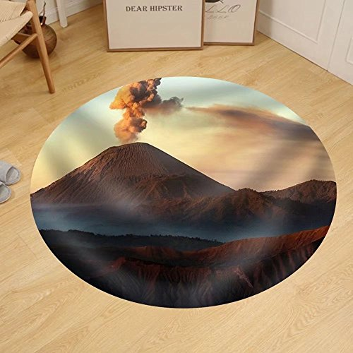 Gzhihine Custom round floor mat Volcanos Mount Semeru and Mount Bromo in East Java Indonesia by Gzhihine