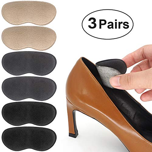 Beautulip Heel Grips Pads Adhesive Back of Heel Cushions High Heel Inserts Heel Protectors - Anti Slip Blister Comfortable Insole for Heels Pack of 6 (Beige+Gray+Black)