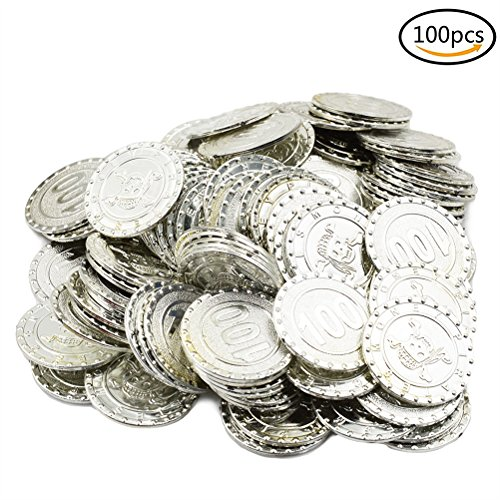 Child Silver Coin (IYSHOUGONG 100 Pcs Plastic Pirate Silver Coins Play Toy Coins Halloween Birthday Party Favors Pinata Money Coin Treasure Coins)