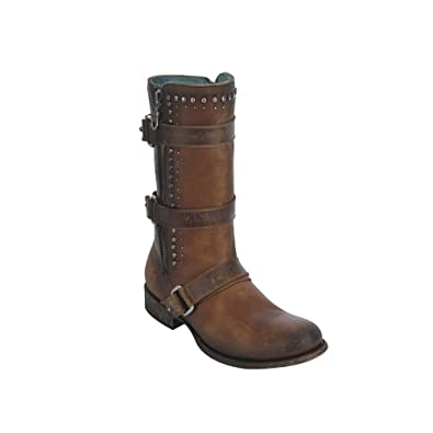Women's Cognac Multi-Straps and Studs Harness Boot