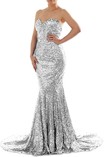 MACloth Women Mermaid Strapless Sweetheart Sequin Long Prom Dress Evening Gown Plateado