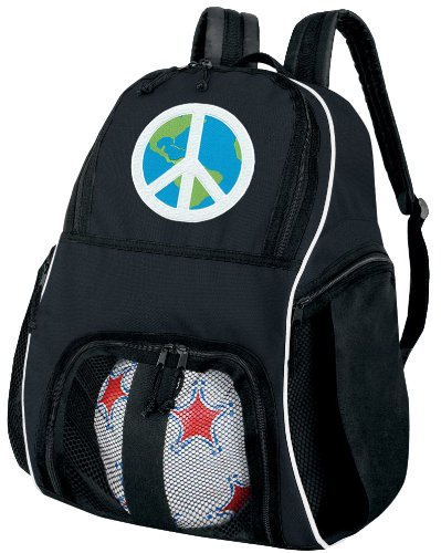 Peace Sign Soccer Backpack or World Peace Volleyball Bag