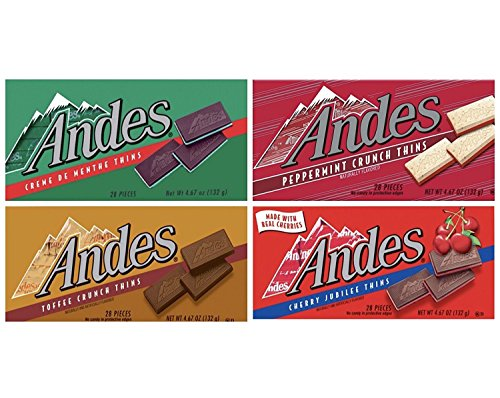 Andes Thins 4 Pack - Creme De Menthe, Cherry Jubilee, Toffee Crunch and Peppermint Crunch