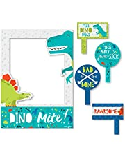 Big Dot of Happiness Roar Dinosaur - Dino Mite T-Rex Baby Shower or Birthday Party Selfie Photo Booth Picture Frame and Props - Printed on Sturdy Material