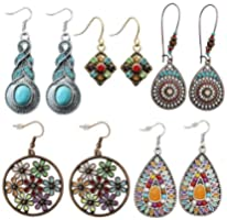 5 Pairs National Style Bohemian Vintage Dangle Earrings Ethnic Petal Beaded Statement Hollow Water Drop Shaped Alloy...