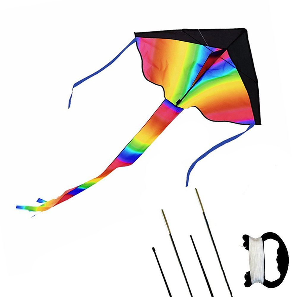 Kedofe Rainbow Kite For Kids Easy Flyer Huge Delta Kite (43''x83'') Fun Toys For Outdoor Games and Activities for Boys, Girls