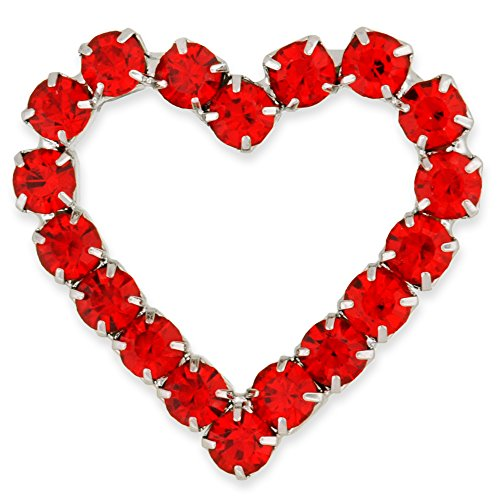 tone Heart Valentine's Day Brooch Pin (Red Rhinestone Heart Pin)