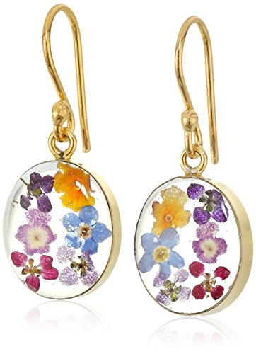 14k Gold Over Sterling Silver Pressed Flower Small Oval Drop Earrings