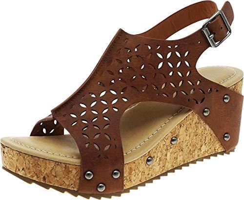 Cambridge Select Women's Laser Cutout Studded Chunky Cork Platform Wedge Sandal,10 B(M) US,Tan PU ()