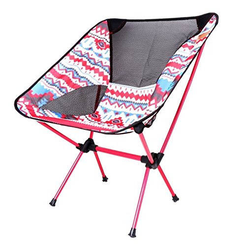 MIJORA-Aluminum Folding Camping Chair Seat For Outdoor Fishing Hiking Beach Picnic Tool(red)